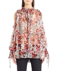 Alexander McQueen Feather Print Cold Shoulder Blouse