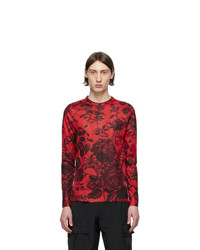 Givenchy Red Floral Ribbed Long Sleeve T Shirt