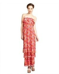 Max & Cleo Cosmic Pink Floral Print Chiffon Elsa Strapless Gown