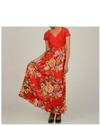 La Cera Lace Boddice Floral Maxi Dress