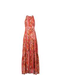 Black Coral Long Floral Dress