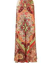 Etro Printed Satin Jacquard Maxi Skirt