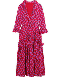 Borgo De Nor Ines Ruffled Floral Print Crepe De Chine Midi Dress Red