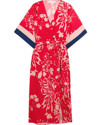 Borgo de nor raquel floral print crepe de chine midi dress red medium 4731033