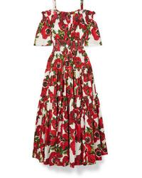 Dolce & Gabbana Cold Shoulder Floral Print Cotton Poplin Midi Dress