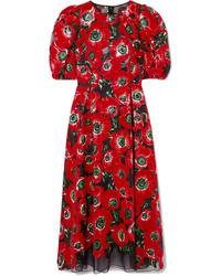 Dolce & Gabbana Floral Print Flocked Tte Midi Dress