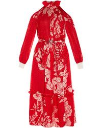 Fendi Floral Print Plumetis Chiffon Midi Dress