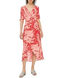 Floral tie sleeve wrap midi dress medium 4731015