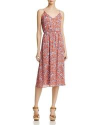 Aqua Floral V Neck Dress 100%