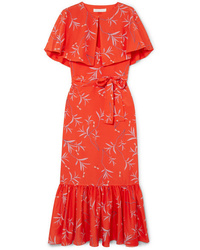Borgo De Nor Margarita Cape Effect Floral Print Crepe Maxi Dress