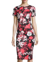 Neiman Marcus Short Sleeve Floral Print Neoprene Midi Dress Red