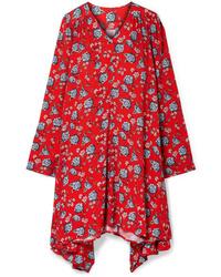 Vetements Oversized Floral Print Crepe Dress