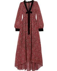 Philosophy Di Lorenzo Serafini Velvet Trimmed Floral Print Silk Chiffon Midi Dress Red