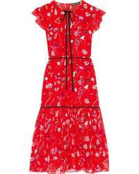 Markus Lupfer Printed Silk Chiffon Midi Dress Red