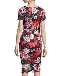 d32ab23b622 ... Neiman Marcus Short Sleeve Floral Print Neoprene Midi Dress Red ...