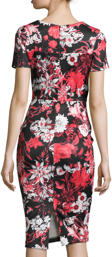 dd2ef73f1a4 Neiman Marcus Short Sleeve Floral Print Neoprene Midi Dress Red ...