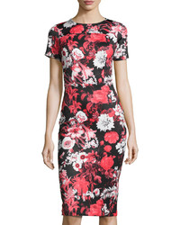 Neiman Marcus Short Sleeve Floral Print Neoprene Midi Dress Red