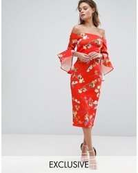 True Violet Bardot Midi Dress With Frill Sleeve In Red Floral