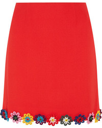 Clovis floral appliqud wool crepe mini skirt red medium 1196438