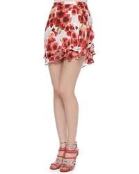 Silk floral print short flirty skirt medium 28453