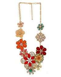 Bib necklace with stones goldred medium 279435