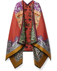 Etro Patchwork Wool Blend Jacquard Wrap