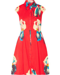 Red Floral Shirtdress