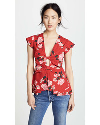 Red Floral Short Sleeve Blouse