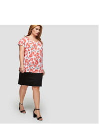 Floral pleated short sleeve blouse medium 7012213