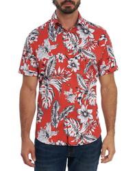 Robert Graham Jukebox Tunes Floral Print Short Sleeve Button Up Shirt