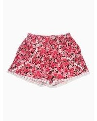 Choies Red Floral Elastic Waist Twisted Ball Embellished Shorts