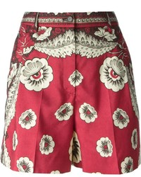 Valentino Printed High Waisted Shorts