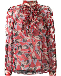 No.21 No21 Pussy Bow Floral Blouse