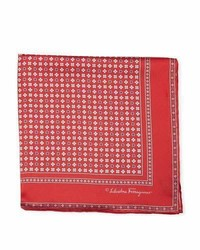 Salvatore Ferragamo Floral Gancio Silk Twill Pocket Square Red