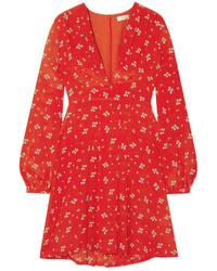 RIXO Harper Floral Print Silk Crepe De Chine Mini Dress
