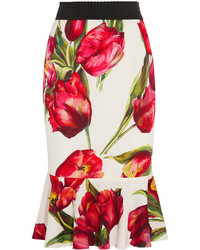 Dolce & Gabbana Fluted Floral Print Stretch Silk Skirt Red