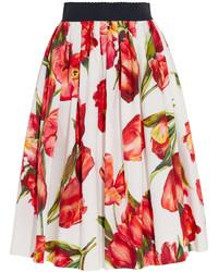 Dolce & Gabbana Floral Print Cotton Poplin Skirt Red