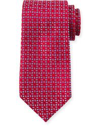 Charvet Floral Pattern Neat Silk Tie Red