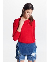 Red Fluffy Crew-neck Sweater