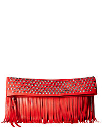 Red Fringe Leather Clutch