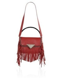 Sara Battaglia Amber Calf Leather Fringed Crossbody Bag