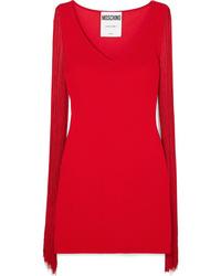 Moschino Fringed Stretch Jersey Mini Dress
