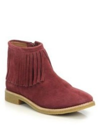 Red Fringe Suede Ankle Boots