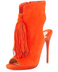 Christian Louboutin Ottaka Suede Fringe Open Toe Red Sole Bootie Cappucine