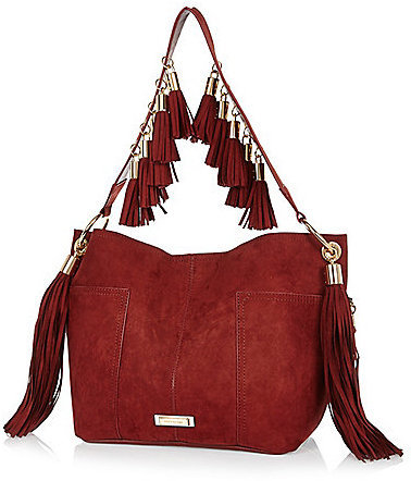 River Island Dark Red Faux Suede Fringed Bucket Handbag