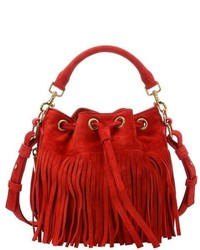 Saint Laurent Fuchsia Suede Small Emmanuelle Fringe Bucket Bag