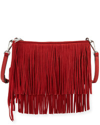 Red Fringe Suede Crossbody Bag