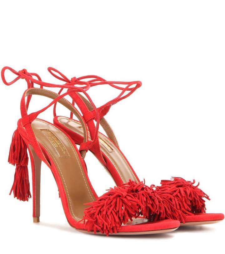 ce3b89f368f ... Red Fringe Suede Heeled Sandals Aquazzura Wild Thing 105 Suede Sandals  ...