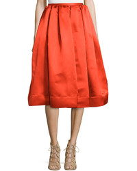Stella McCartney Box Pleated Satin Skirt Red