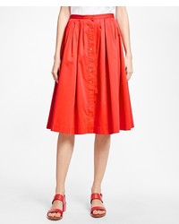 Brooks Brothers Flared Cotton Sateen Skirt